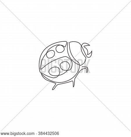 One Continuous Line Drawing Of Cute Ladybug For Company Logo Identity. Agricultural Pest Mascot Conc