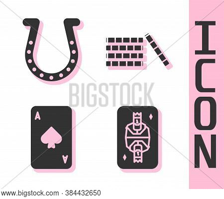 Set King Playing Card With Diamonds, Horseshoe, Playing Card With Spades And Casino Chips Icon. Vect