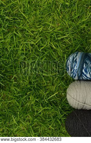 Close Up Of Different Color Worsted Yarn