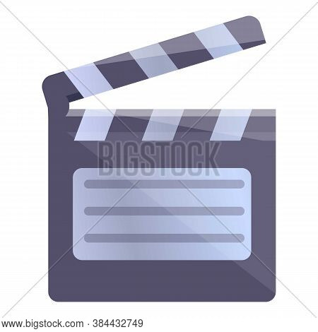 Video Editing Clapper Icon. Cartoon Of Video Editing Clapper Vector Icon For Web Design Isolated On