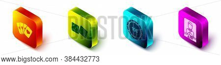 Set Isometric Deck Of Playing Cards, Game Dice, Casino Chips And Casino Dealer Icon. Vector