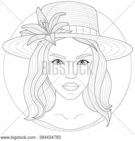 Girl In A Hat With A Flower.coloring Book Antistress For Children And Adults. Zen-tangle Style.black