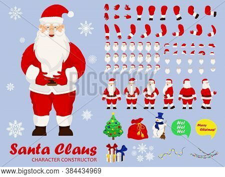 Santa Claus Character Set For The Animation With Various Views, Hairstyle, Emotion, Pose And Gesture