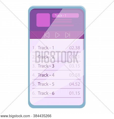 Playlist Listening Icon. Cartoon Of Playlist Listening Vector Icon For Web Design Isolated On White
