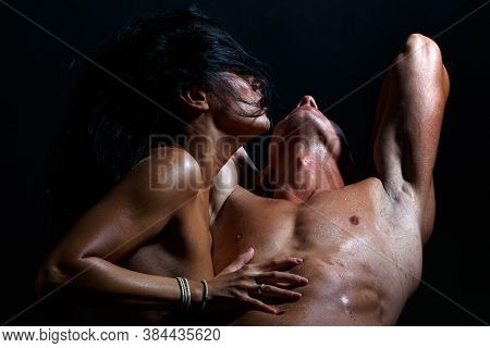 Sensual Relationship, Intimacy Sensual Concept. Young Couple Having Passionate Sex