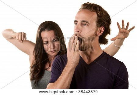 Woman Ready To Punch Yawning Man