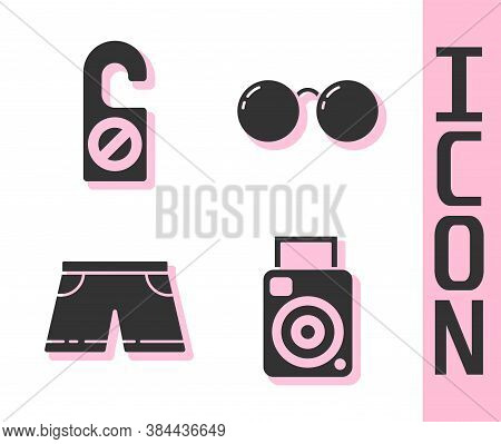 Set Photo Camera, Please Do Not Disturb, Swimming Trunks And Glasses Icon. Vector