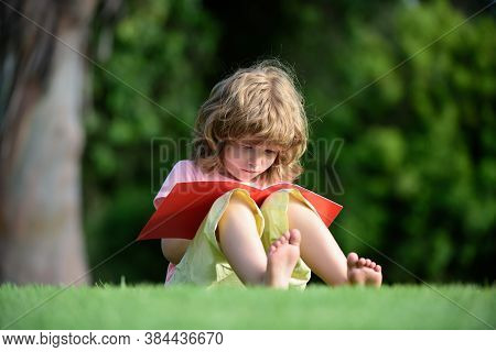 Kid Learning To Write, Preschool Pupil Education. Outdoor Children Education. Child Distance Learnin