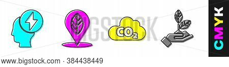 Set Head And Electric Symbol, Location With Leaf, Co2 Emissions In Cloud And Plant In Hand Icon. Vec