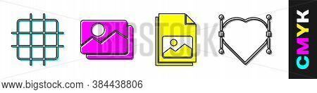 Set Grid Graph Paper, Picture Landscape, Picture Landscape And Heart With Bezier Curve Icon. Vector