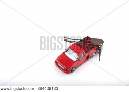 Red Pickup Truck With Gardening Equipment Isolated On White Background Flat Lay. Image Contains Copy