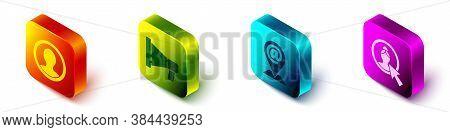 Set Isometric Create Account Screen, Megaphone, Location And Mail And E-mail And Create Account Scre