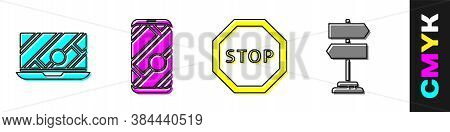 Set City Map Navigation, City Map Navigation, Stop Sign And Road Traffic Sign Icon. Vector