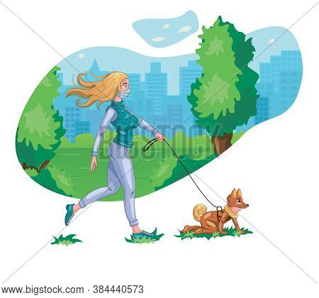 Funny Illustration Of A Girl Who Walks With A Child. Beautiful Illustration On A White Background. I