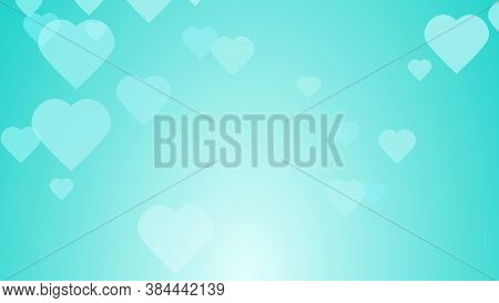Medical Health Green Blue Hearts Pattern Background. Abstract Healthcare Technology And Science Conc