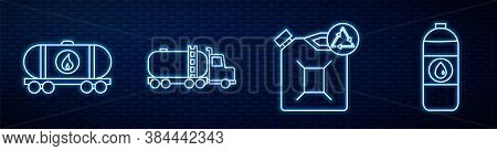 Set Line Eco Fuel Canister, Oil Railway Cistern, Tanker Truck, Canister For Motor Machine Oil And Ca