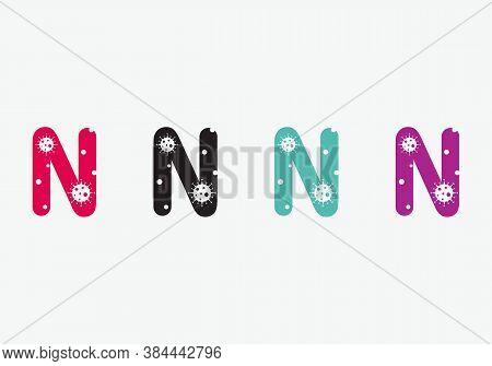 Creative Corona Logo On N Letter. N Letter Logo With  Corona Concept