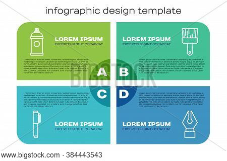 Set Line Pen, Paint Spray Can, Fountain Pen Nib And Paint Brush. Business Infographic Template. Vect