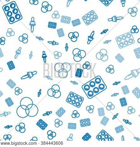 Set Line Rgb And Cmyk Color Mixing, Watercolor Paints In Box And Pipette On Seamless Pattern. Vector