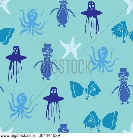 Vector Blue Aquatic Animals Seamless Pattern Background