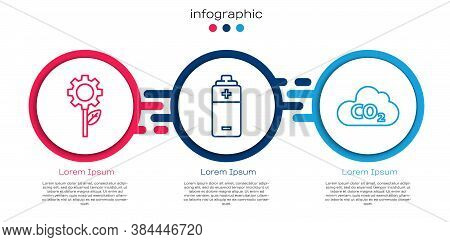Set Line Leaf Plant In Gear Machine, Battery And Co2 Emissions In Cloud. Business Infographic Templa