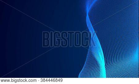 Dot Blue Wave Light Screen Gradient Texture Background. Abstract Technology Big Data Digital Backgro