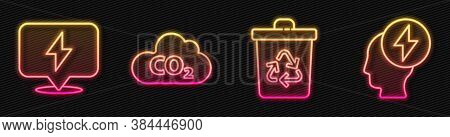 Set Line Recycle Bin With Recycle, Lightning Bolt, Co2 Emissions In Cloud And Head And Electric Symb