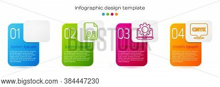 Set Line Red Eye Effect, Ae File Document, Laptop And Gear And Speech Bubble With Text Cmyk. Busines