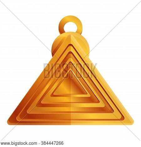 Pyramide Gold Amulet Icon. Cartoon Of Pyramide Gold Amulet Vector Icon For Web Design Isolated On Wh