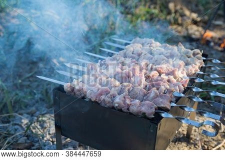 Closeup Photo Of Souvlaki, Which Is Fried On The Chargrill In The Camp At Sunset. Smoke Rises From T