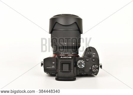 Delhi, India - September 7, 2020: Top View Of Sony A7iii With 28-70 Lens On White Background,