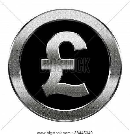 Pound Icon Silver, Isolated On White Background