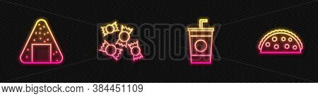 Set Line Paper Glass With Straw, Onigiri, Candy And Taco Tortilla. Glowing Neon Icon. Vector