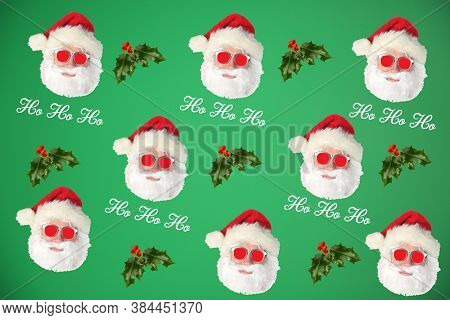Santa Claus with Holly Leaf and Berries. Repeating Santa Claus Head Pattern.  Wallpaper, Gift Wrapping, or Backgrounds. Isolated on Green.