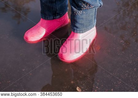 Legs Of Child In Rainboots Standing In Puddle.kids In Fall. Close-up Of A Baby Girls Legs With Pink