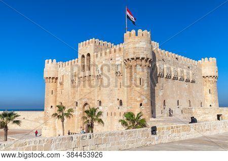 Alexandria, Egypt - December 14, 2018: The Citadel Of Qaitbay Or The Fort Of Qaitbay Is A 15th-centu