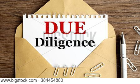 Due Diligence, Text On White Paper, On Craft Envelope