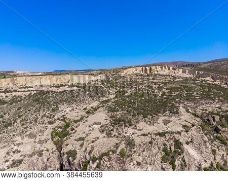 Aerial View To The Byzantine Ancient Rocks In Phrygian Valley Or Frig Vadisi In Province Of Eskisehi