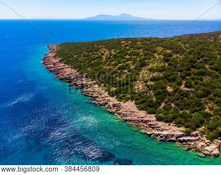 Aerial View To The Aegean Sea Close To The Shoreline In City Of Bodrum Turkey
