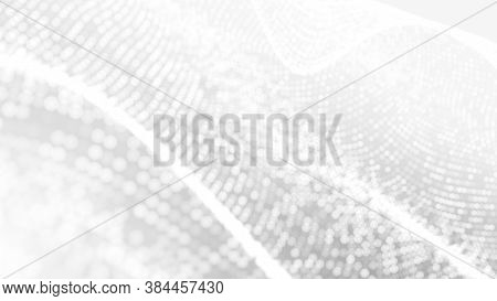 Dot White Gray Wave Light Technology Texture Background. Abstract Big Data Digital Concept. 3d Rende