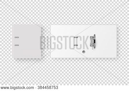 Vector 3d Opened And Closed Realistic White Blank Office Binder With Metal Rings For A4 Paper Sheet