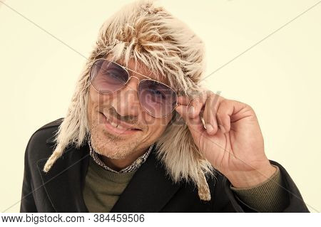 Fashion For Cold Weather. Happy Man Wear Fashion Glasses Isolated On White. Mature Man In Winter Sty