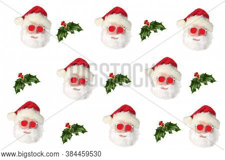 Santa Claus with Holly Leaf and Berries. Repeating Santa Claus Head Pattern.  Wallpaper, Gift Wrapping, or Backgrounds. Isolated on White.