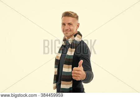 Perfect Accessory. Thumb Up Gesture. Tuned In Fashion. Fashion Man Isolated On White. Happy Smiling