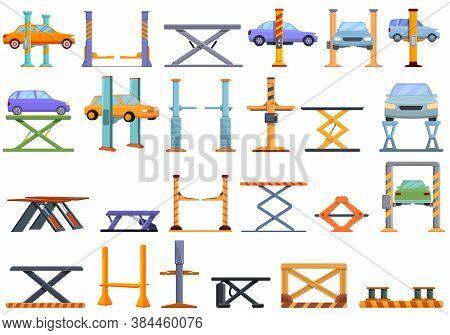 Car Lift Icons Set. Cartoon Set Of Car Lift Vector Icons For Web Design