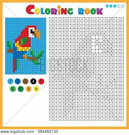 Parrot. Color By Numbers. Coloring Book For Kids. Colorful Puzzle Game For Children With Answer.