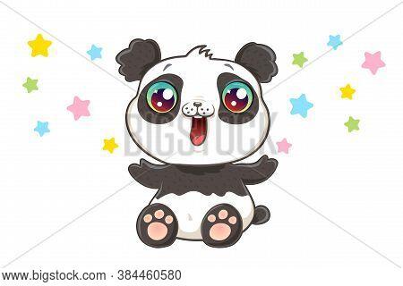 Vector Illustration Of A Cute Panda In Kawaii Style. Cute Vector Panda With Confetti.