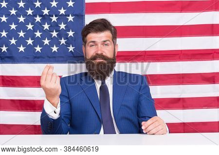 Consolidation Of Democracy. Bearded Man On American Flag Background. Democracy And Liberty. Sovereig