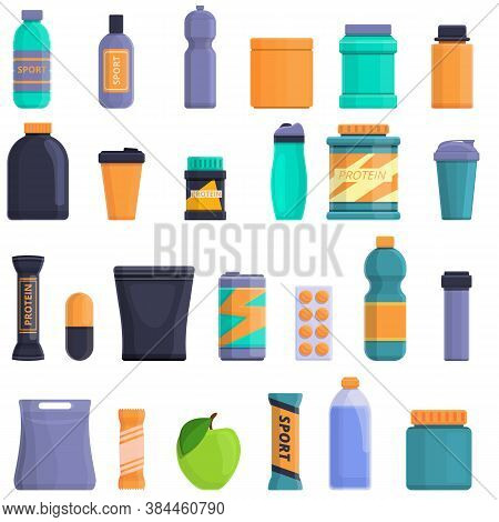 Sports Nutrition Icons Set. Cartoon Set Of Sports Nutrition Vector Icons For Web Design