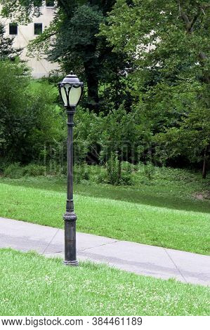 A Lamppost In Central Park In New York City.